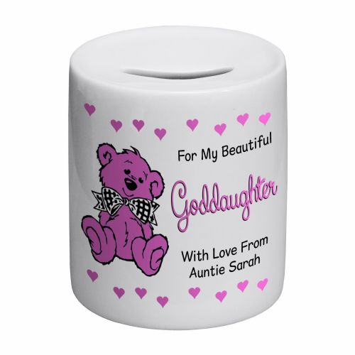 Personalised Goddaughter Novelty Ceramic Money Box